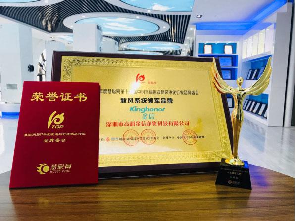 "Good news: Kinghonor Honored in 2017 ""Fresh Air Leading Brand Award"" and ""Top Ten Leaders Award"""